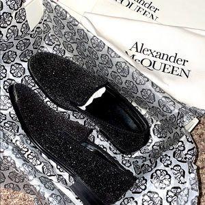 Alexander Mcqueen mens's black leather glitter loafer size 7.5